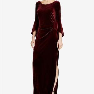 Ralph Lauren Velvet Ruffle-Sleeve Gown Maxi Dress